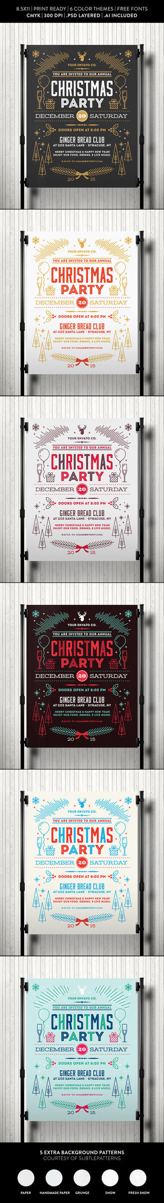 Christmas Party Flyer Template by jamiefang