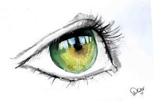 Green Eye in Watercolour