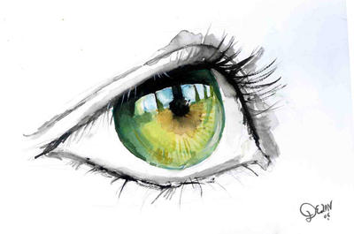 Green Eye in Watercolour