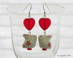 Kissing Heart Bunny Earrings by Cillana