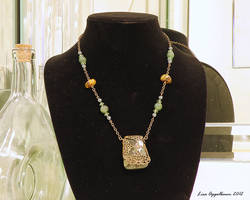 Necklace with Kambaba Jasper and Filigree Pendant
