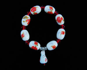 Red Flower Bunny Bracelet