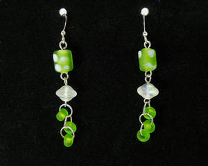 Fanciful Green and White Glass Dangle Earrings