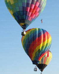 Trio of Colorful Hot Air Balloons