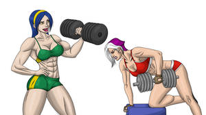 Beatrice and Desdemona at Gym by fabio018