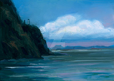 Seascape painting with lighthouse by HannahBanana1984