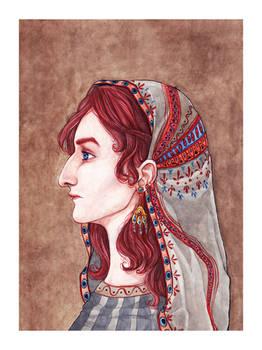 potrtait with headscarf