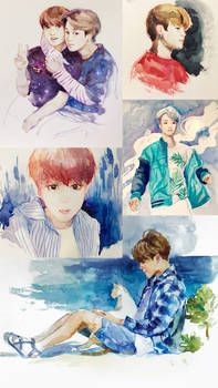 BTS Watercolor Sketches