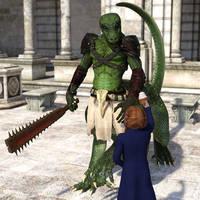 Dragontaur Offering by Willbear
