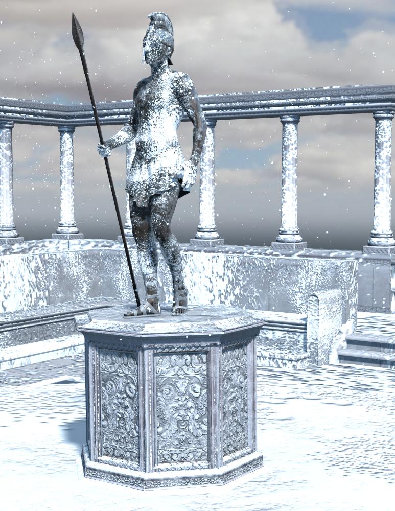 Bronze statue in the snow
