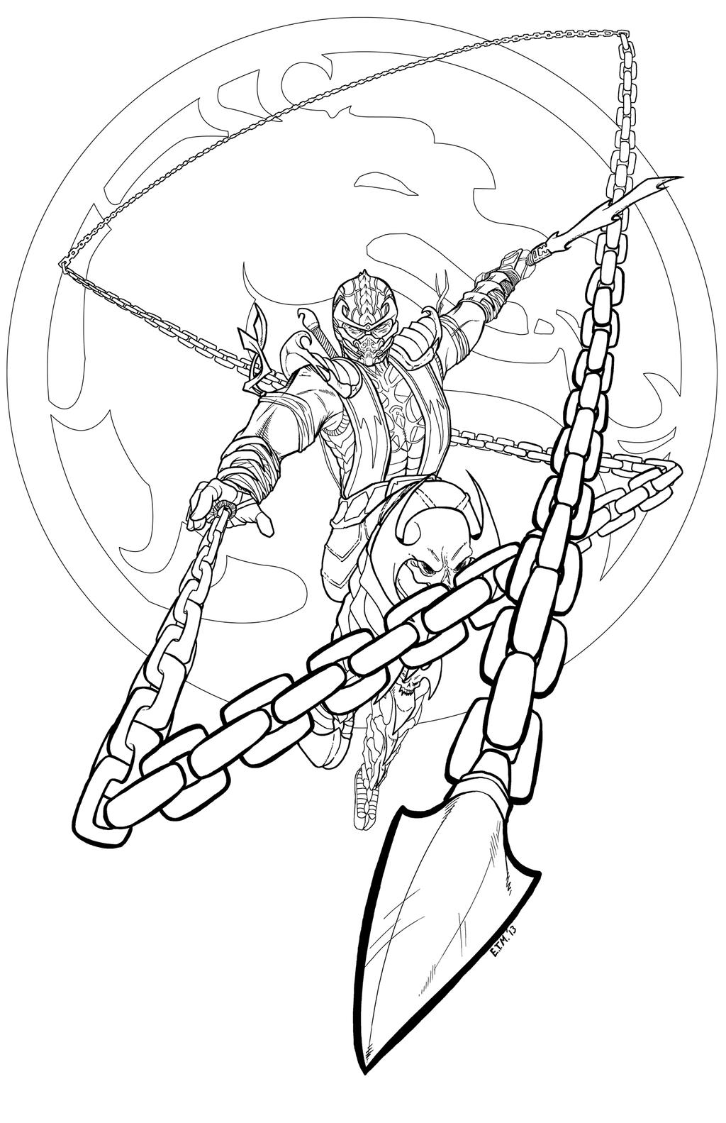 Mortal kombat scorpion by teamzoth on deviantart for Scorpion coloring page
