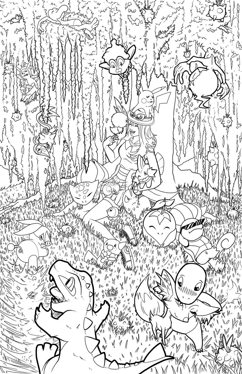 Pokemon gotta lovem all line art by teamzoth on deviantart for All pokemon coloring pages