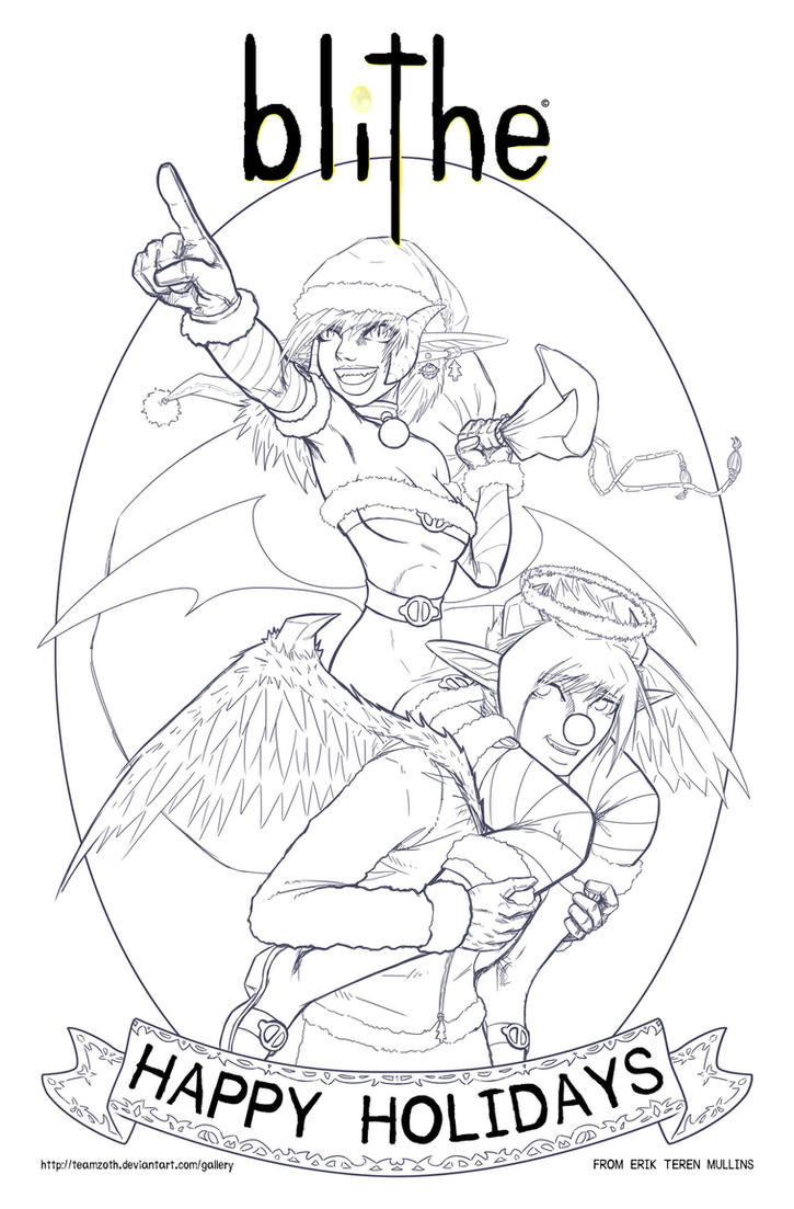 blithe Promo xmas 2015 lineart by teamzoth