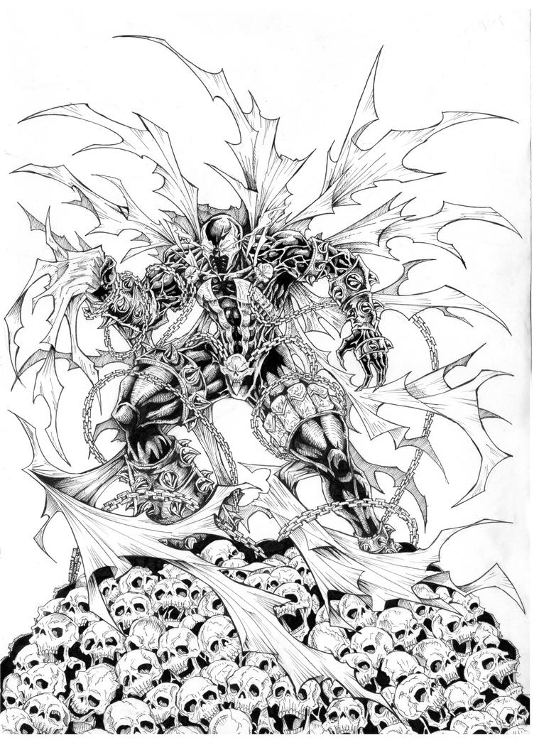 Spawn on skull by prastian by prastian on deviantart for Spawn coloring pages