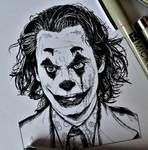 Joker (ink drawing) by FlyinFreak