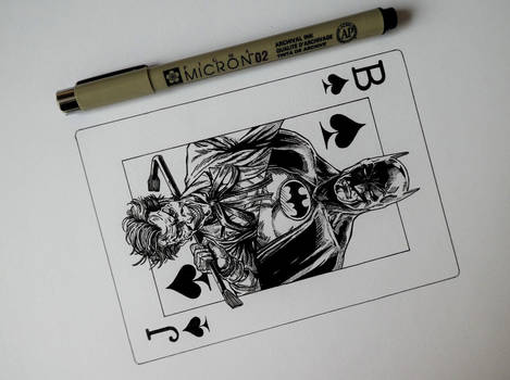Three Jokers playing card (ink drawing)