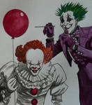 Who's the better clown? (watercolour practise)