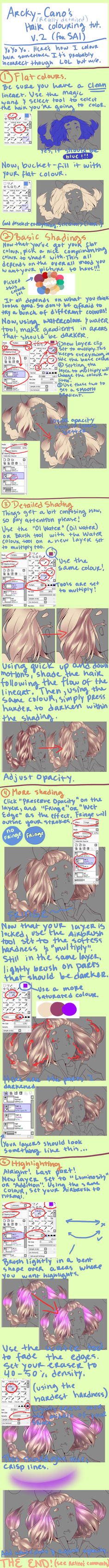 SUPA DETAILED Hair Tutorial (SAI) by Arcky-Cano