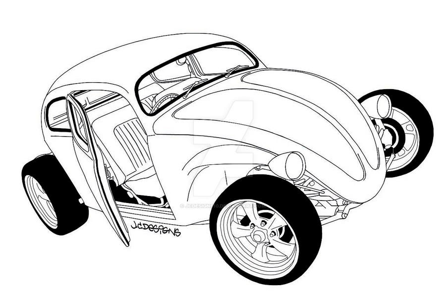 vw beetle rod outline drawing by jcdesigns10