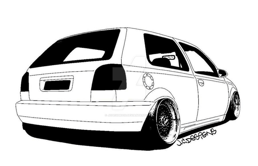 vw golf mk3 drawing by jcdesigns10