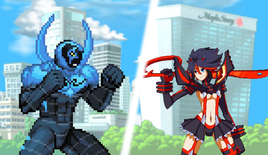 Blue Beetle vs Ryuko by Avoidthisaccount
