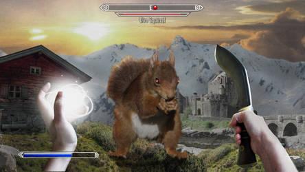 Skyrim: Dire Squirrel Fight by katsmithart