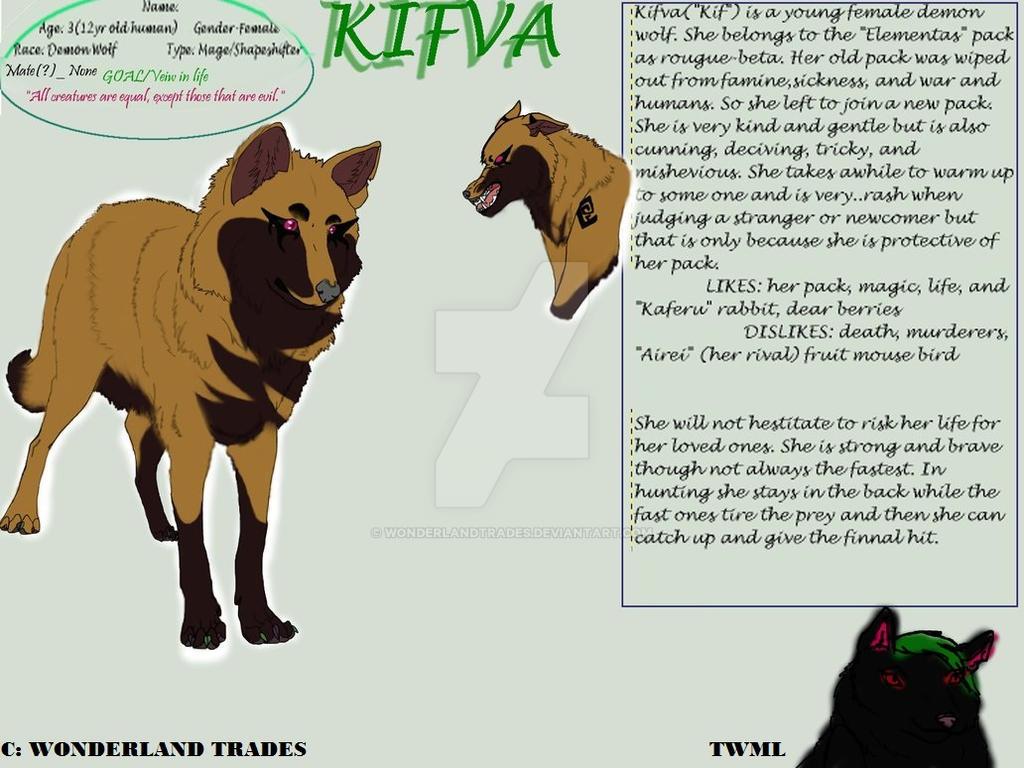 Kifva - Character Reference Sheet (OldArt) by WonderlandTrades