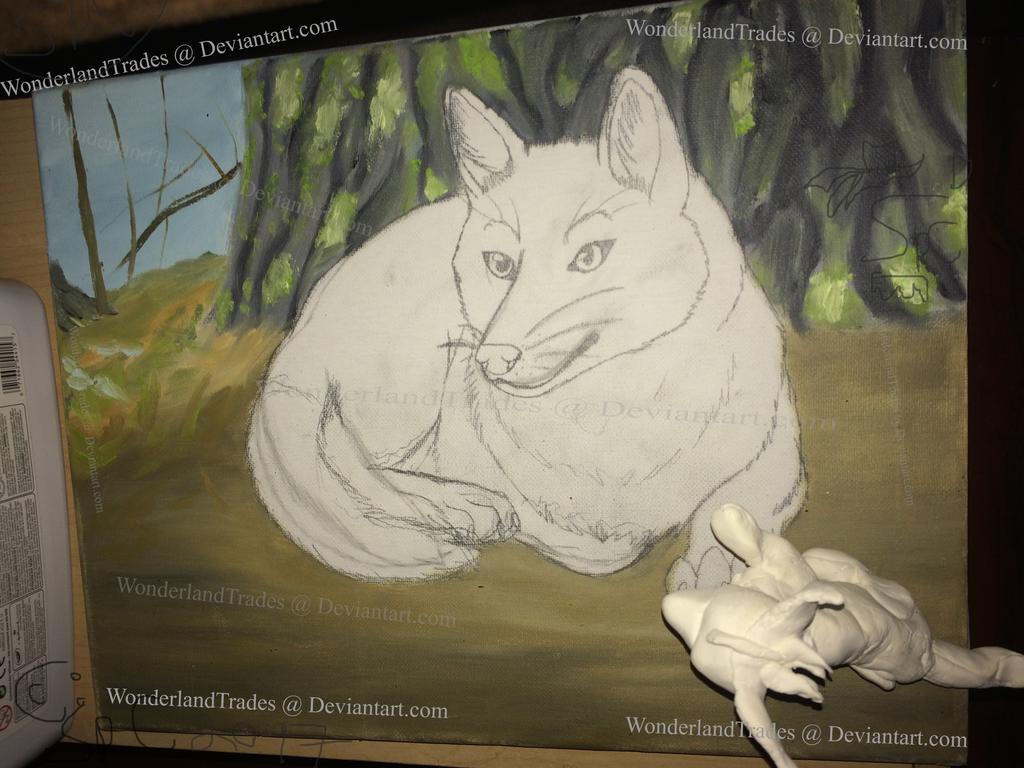 Old Fox WIP / Painting / Artwork + Fox Sculp(READ) by WonderlandTrades