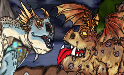 HTTYD: Discovery Duo , Stormfly and Meatlug by WonderlandTrades