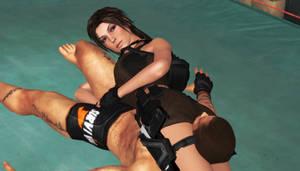 Lara croft vs Rig by Efudeea