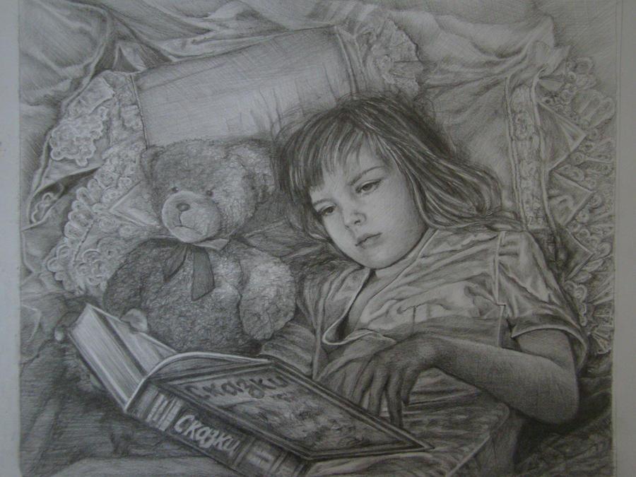 A Girl with a book by Yakhovskaya