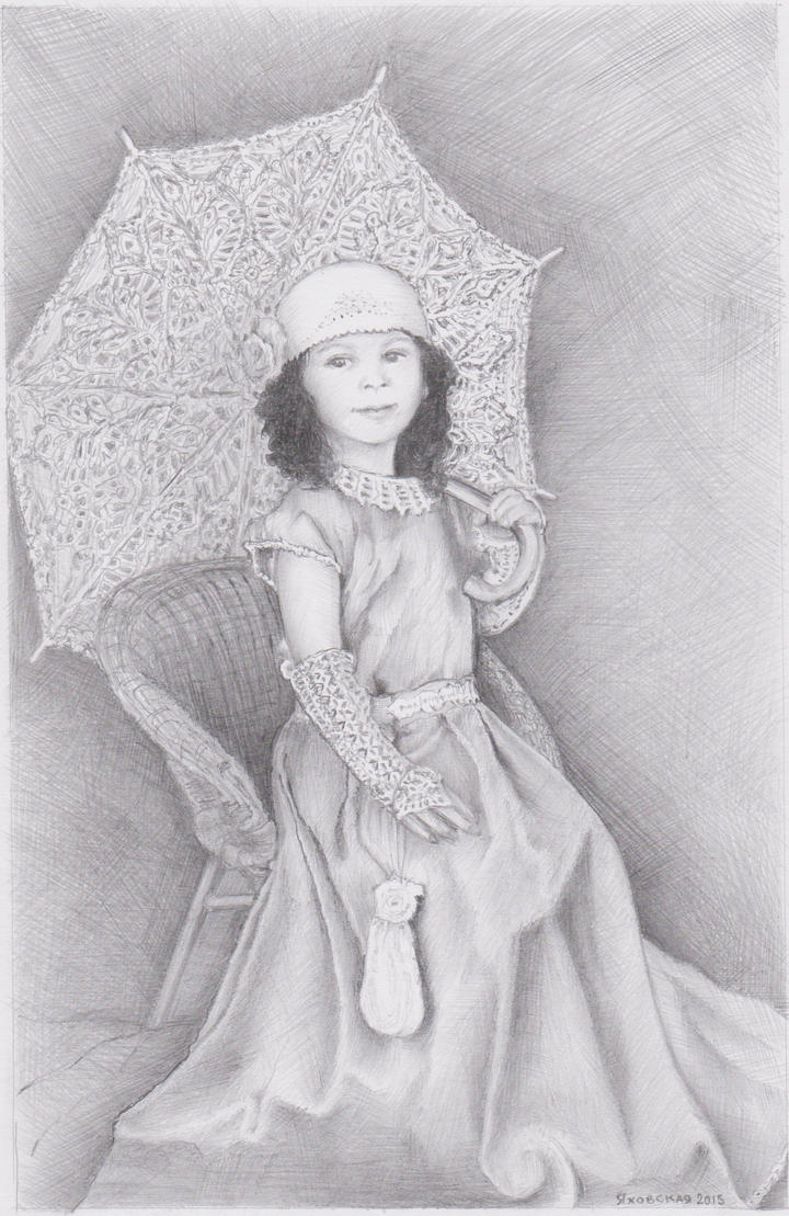 Girl with umbrella by Yakhovskaya