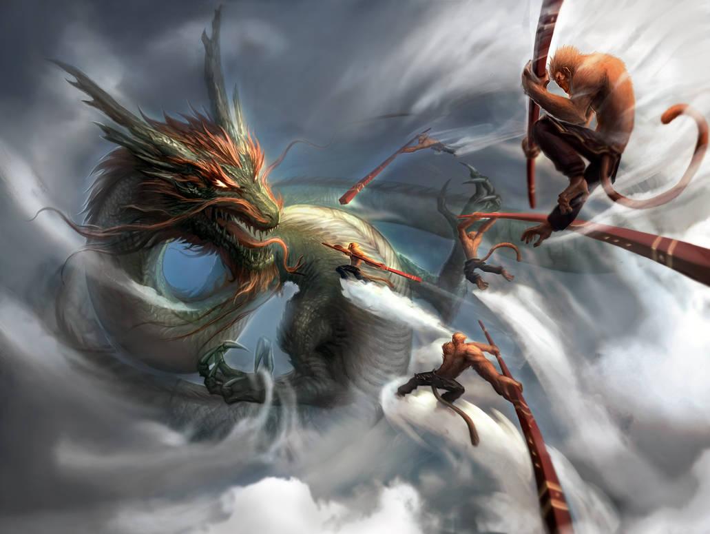 Monkey King v Dragon King: Dawn of Heaven Ruin by Shengism