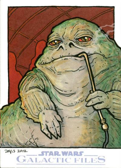 Topps' Galactic Files Sketchcard (2012) Jabba by vandavis