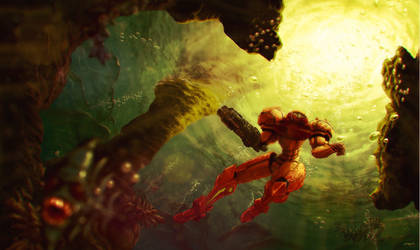 Samus in Maridia by Jaquio