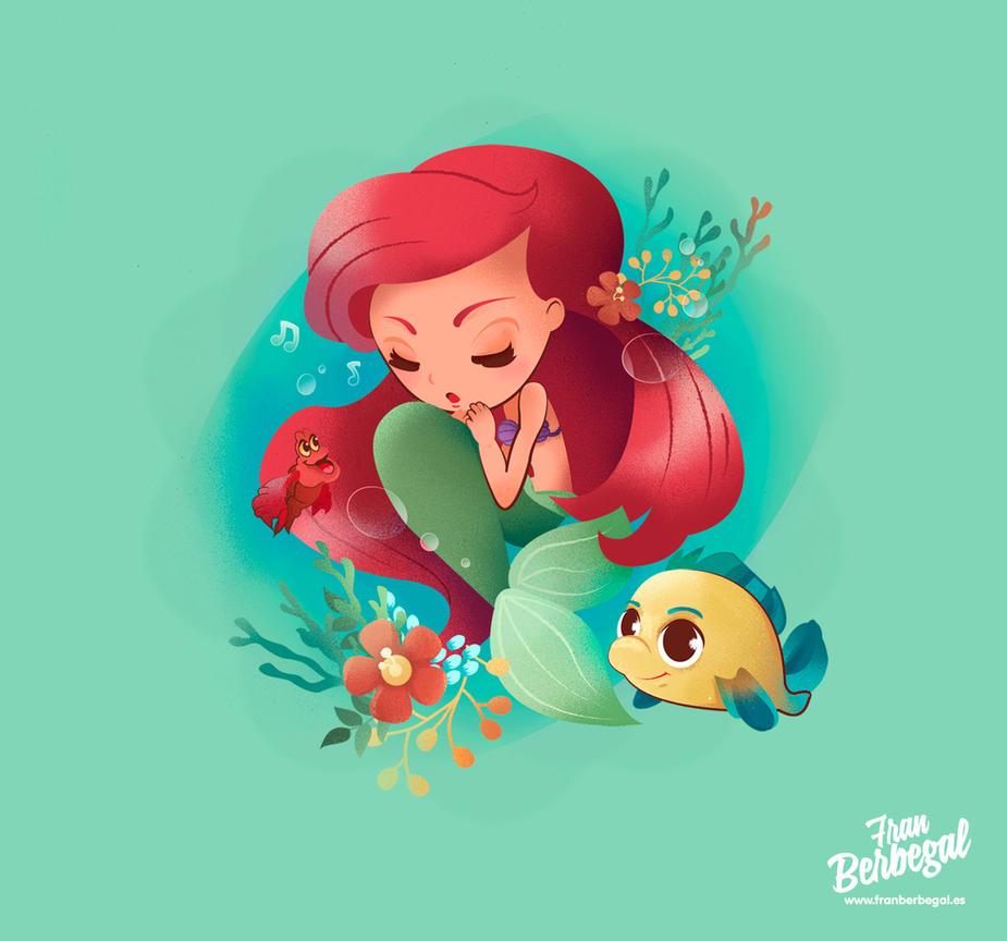 Ariel, The Little Mermaid - Illustration fanart by supertoki