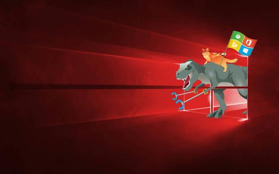 Windows 10 Ninja Cat and T Rex