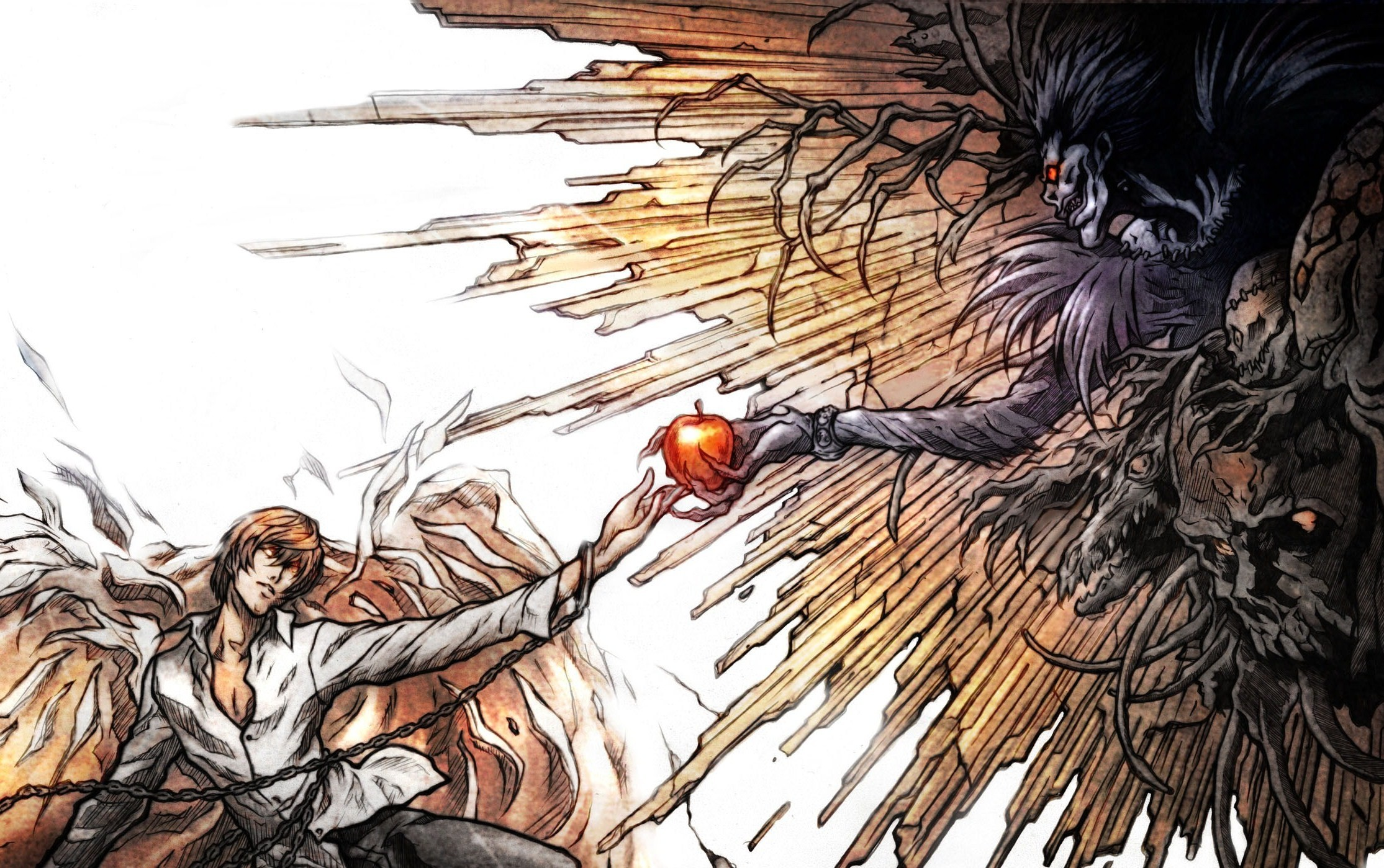 Death Note Ryuk Yagami Light Apples Desktop 2229x1 by ...