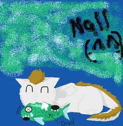 Nall loves eating fish. by aiyaa-wolf