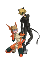 Chatnoir and Pataman by midorimushiG