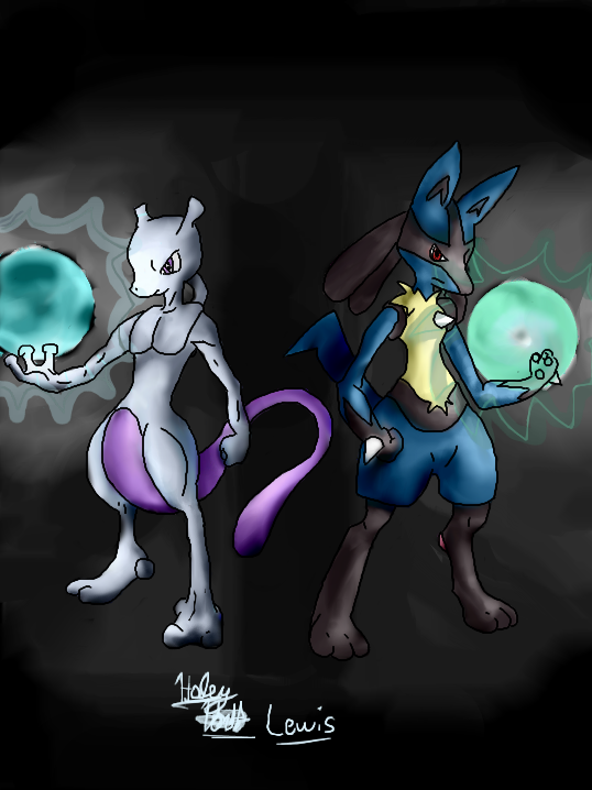 Mewtwo and Lucario by Broart888 on DeviantArt