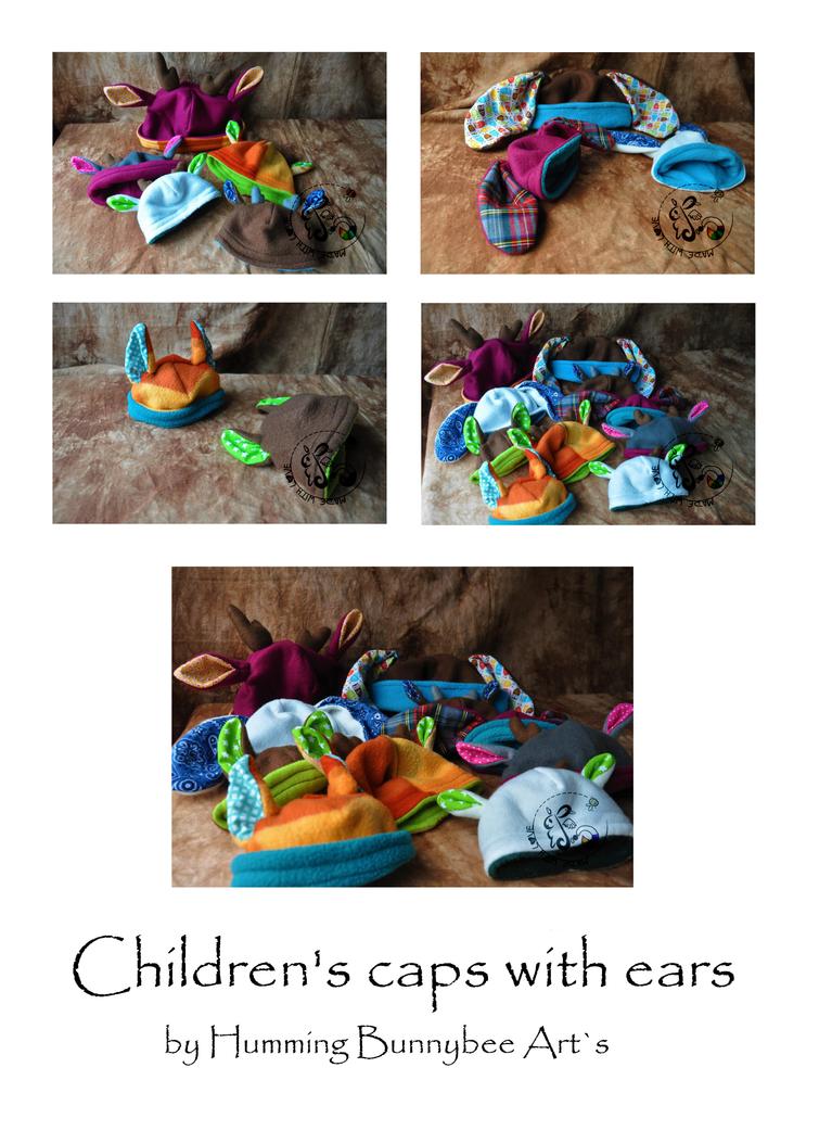 Children`s cap with ears by ScribblingRabbit-Art