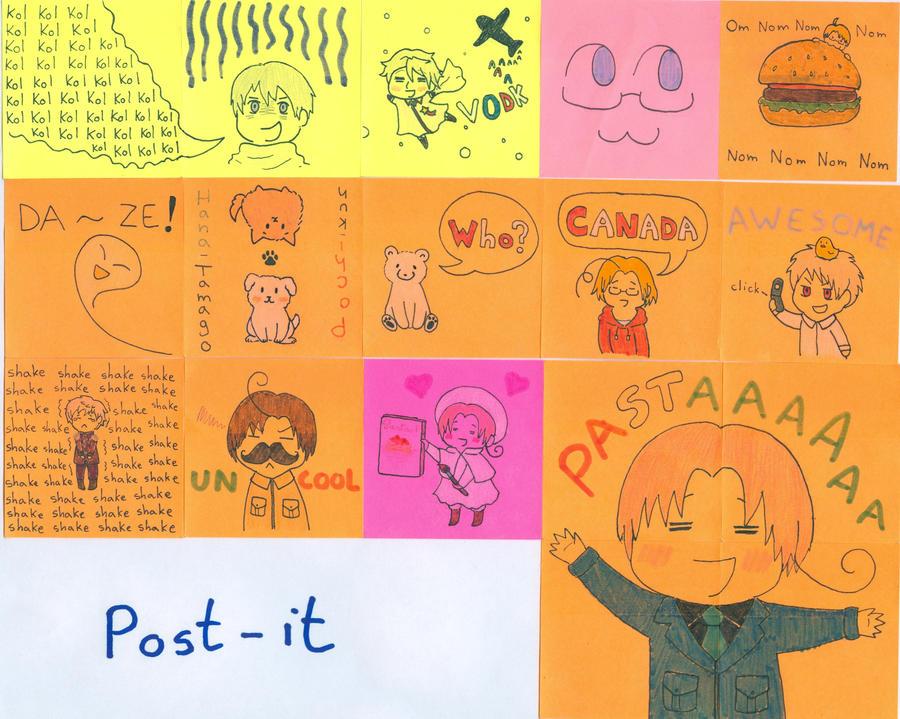 Mini post-it Hetalia version by ManiMudkip-sama