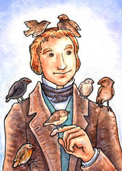 Charles with Finches by angelac