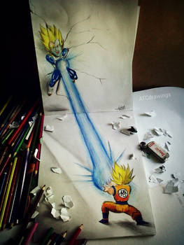 vegeta vs goku 3d drawing by Arthur T. Cortez