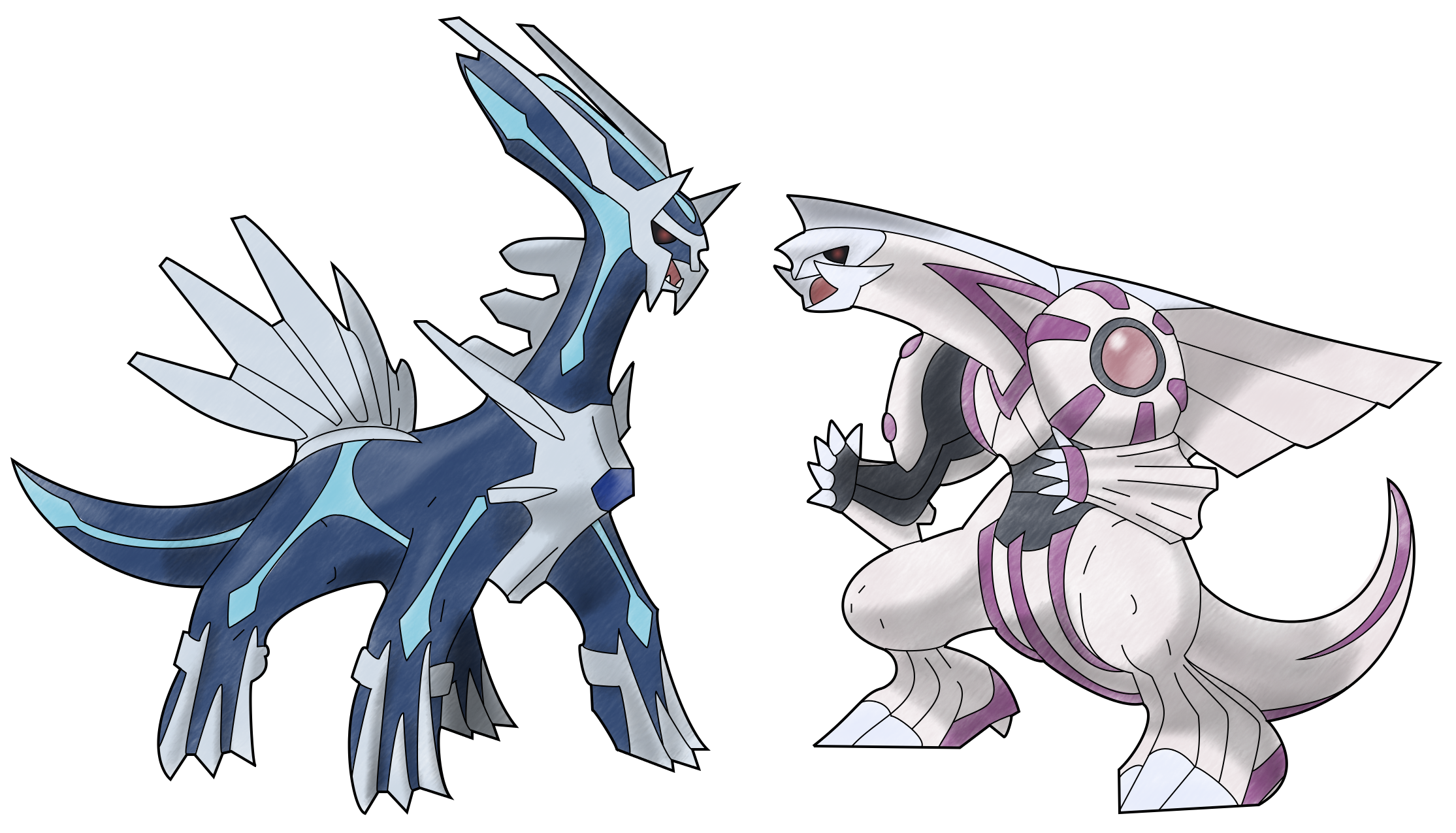Dialga and Palkia by TheSerotonin on DeviantArt