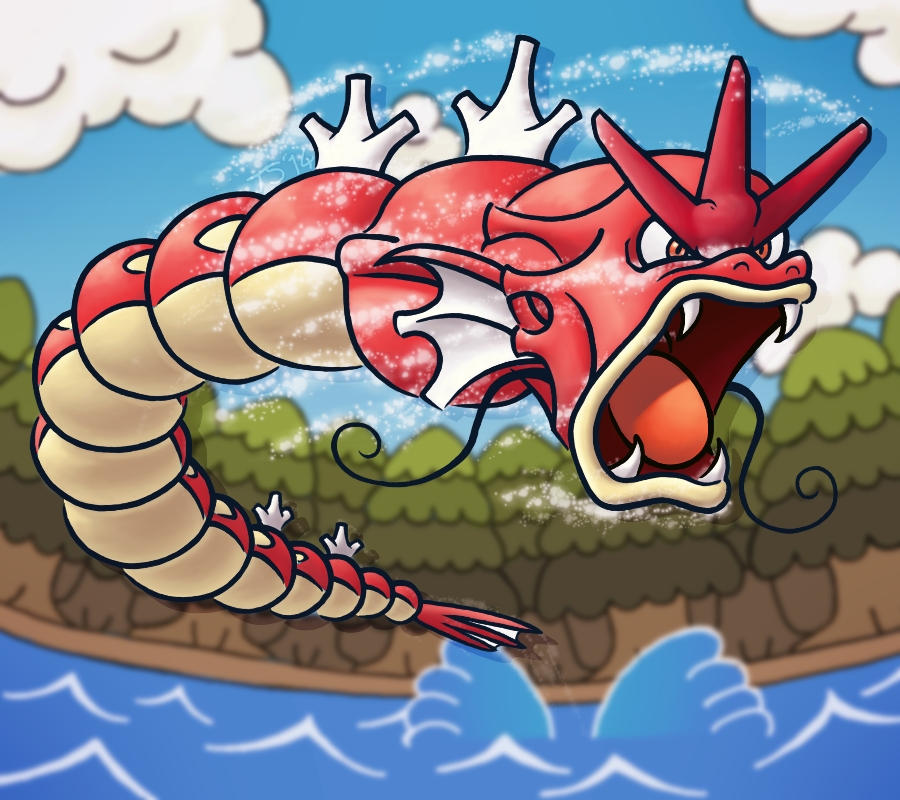 Red Gyarados Attacks!! by TheSerotonin