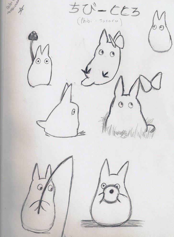 White Totoro Drawing Chibi Totoro Drawing Tonari