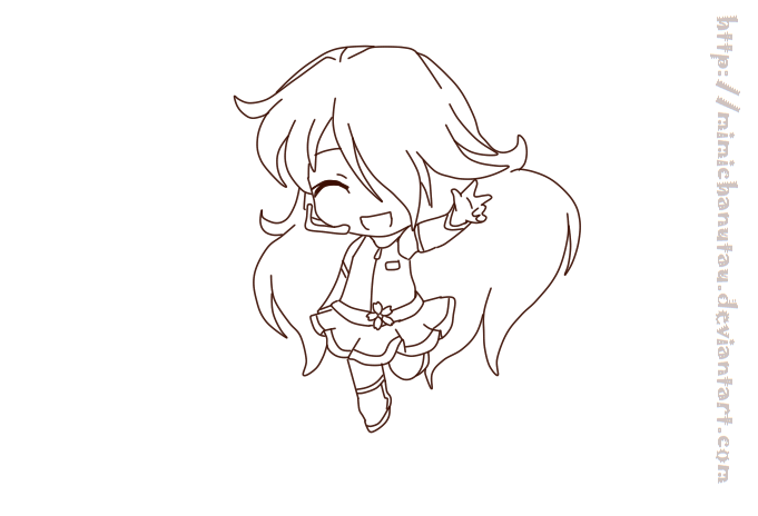 Sakura chibi kawaii :lineart: by MimichanUTAU on DeviantArt