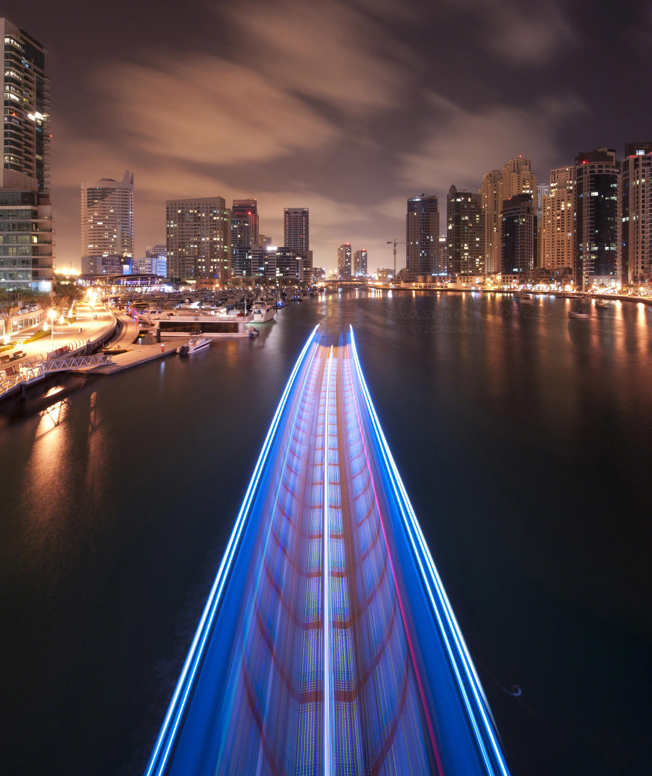 Marina Light Trails by VerticalDubai